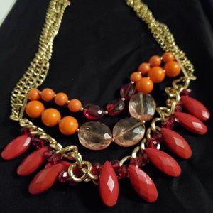 2/$30 talbots red orange coral statement necklace